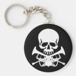 Skull with Trumpets as Crossbones Key Chain