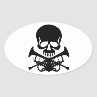 Skull with Trumpets as Crossbones Oval Sticker