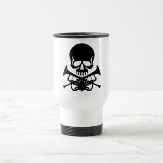 Skull with Trumpets as Crossbones Travel Mug