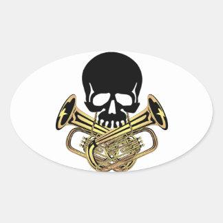 Skull with Tuba Crossbones Oval Sticker