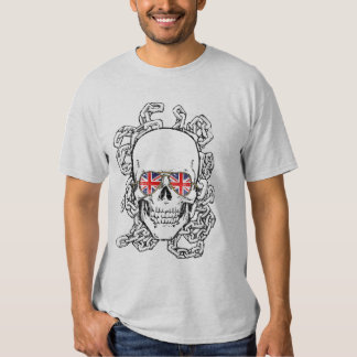 Skull with Union Jack sunglasses and chains Tee Shirt