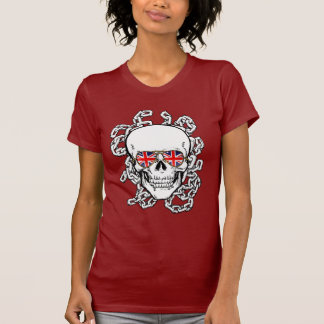 Skull with Union Jack sunglasses and chains T Shirts