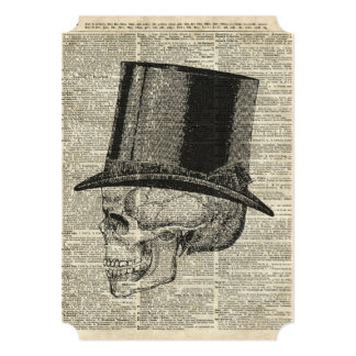 Skull with victorian hat stencil over old book pag card