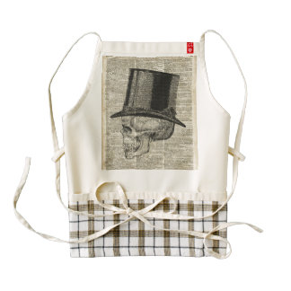 Skull with victorian hat stencil over old book pag zazzle HEART apron
