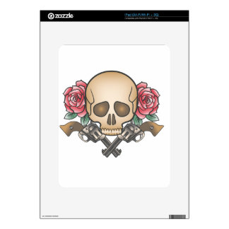 skull with vintage guns and flowers decal for iPad