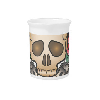 skull with vintage guns and flowers drink pitcher