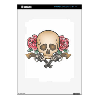 skull with vintage guns and flowers iPad 3 decal