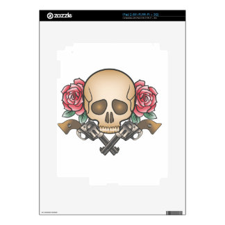 skull with vintage guns and flowers skins for iPad 2