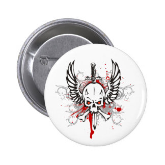Skull with wings 2 inch round button