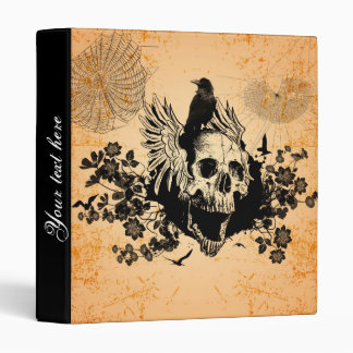 Skull with wings and crow with flowers binder