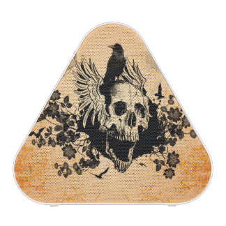 Skull with wings and crow with flowers bluetooth speaker