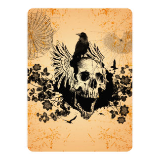 Skull with wings and crow with flowers card