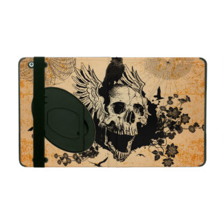 Skull with wings and crow with flowers iPad cover