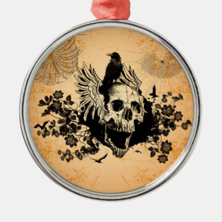 Skull with wings and crow with flowers metal ornament