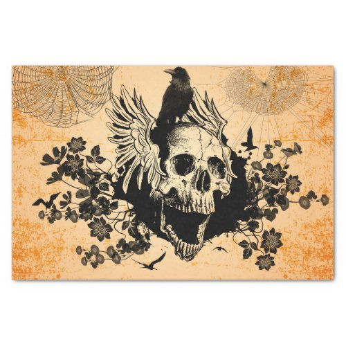 Skull with wings and crow with flowers tissue paper