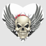 Skull with Wings and Guitars Heart Sticker