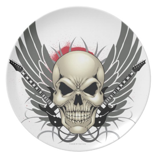Skull with Wings and Guitars Plate