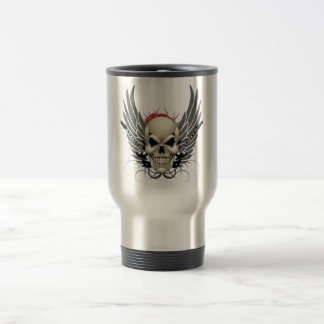 Skull with Wings and Guitars Travel Mug