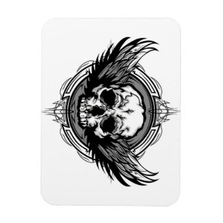 Skull With Wings And Tribal Outline Ornate Magnet