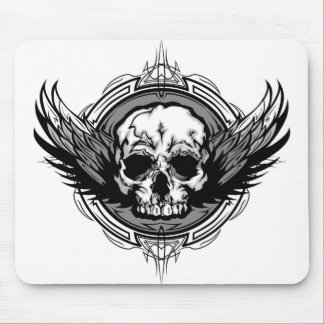 Skull With Wings And Tribal Outline Ornate Mouse Pad