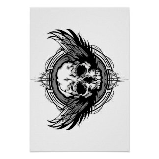 Skull With Wings And Tribal Outline Ornate Poster