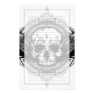Skull With Wings And Tribal Outline Ornate Stationery