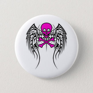Skull with Wings Button
