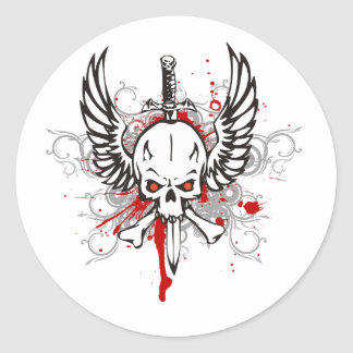 Skull with wings classic round sticker