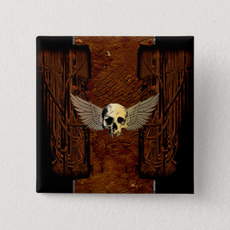 Skull with wings on dark background button