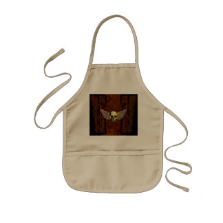 Skull with wings on dark background kids' apron