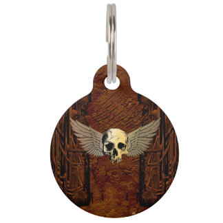 Skull with wings on dark background pet ID tag