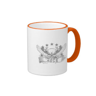 Skull With Wings Rock Banner Coffee Mugs