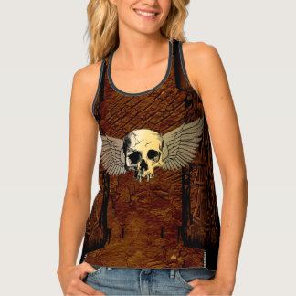 Skull with wings tank top