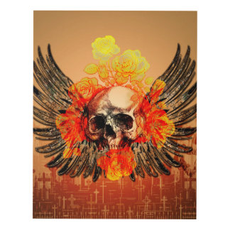 Skull with wonderful roses and wings panel wall art