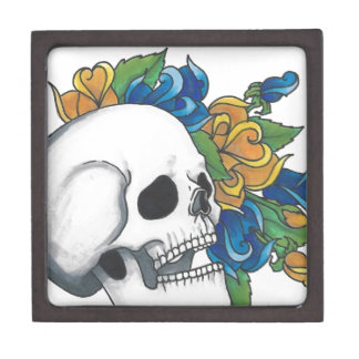 Skull with yellow and Blue roses Premium Jewelry Box