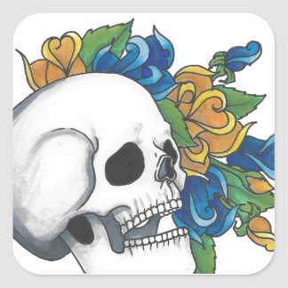 Skull with yellow and Blue roses Square Sticker