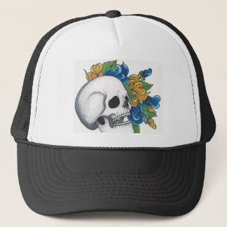 Skull with yellow and Blue roses Trucker Hat