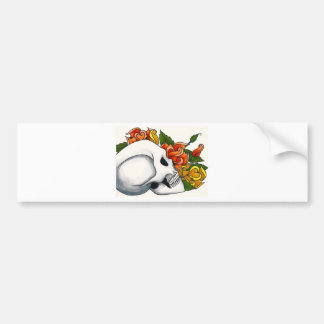 Skull with yellow and orange roses bumper sticker
