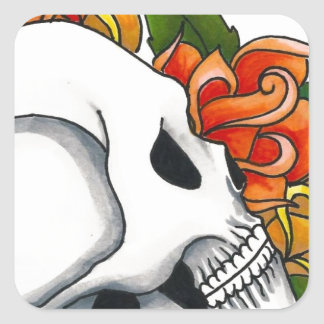 Skull with yellow and orange roses square sticker
