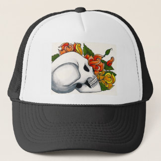 Skull with yellow and orange roses trucker hat