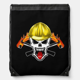 Skull with Yellow Hard Hat and Flaming Hammers Drawstring Bag