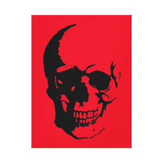 Skull Wrapped Canvas - Black & Red Fantasy Art Canvas Print