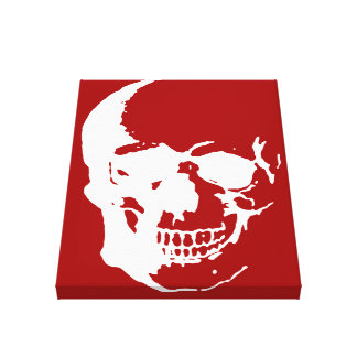 Skull Wrapped Canvas - White & Red Fantasy Art Canvas Print