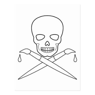 Skull-X-Paintbrush Postcard