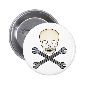 Skull & X-Wrench Pinback Buttons