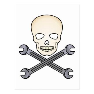 Skull & X-Wrench Postcard