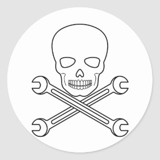 Skull-X-Wrenchs Classic Round Sticker