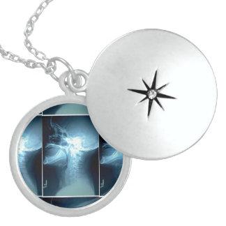 Skull xray Image Sterling Locket Pendant Necklace