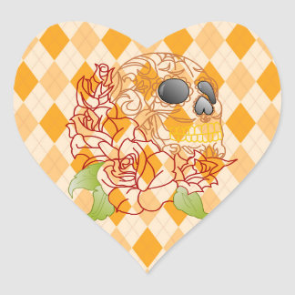Skull yellow argyle rockabilly heart sticker