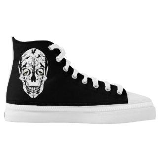 Skull Zipz High Top Shoes Ravens & Skeleton Printed Shoes